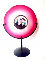 Plate Aquarium Ruby in Glass on Stand
