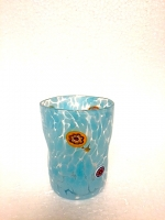 "Glass ""Macchia"" Light Blue in Glass with Murrina"