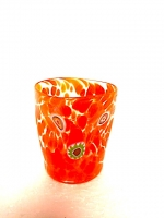 "Glass ""Macchia"" Red Orangish in Glass with Murrina"