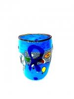 "Glass ""Mirò"" Light Blue in Glass with Murrina"