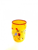 "Glass ""Mirò"" Yellow in Glass with Murrina"