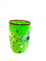 "Glass ""Mirò"" Acid Green in Glass with Murrina"