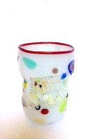 "Glass ""Mirò"" White in Glass with Murrina"