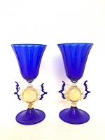 Set 2 Blown Glasses  with Gold Leaf