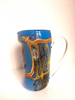 """Pitcher """"Schizzo"""" Light Blue  in Glass with Murrina"""