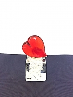 Heart on Square Base in Glass