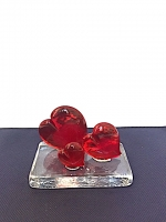 Heart Triple on Base in Glass