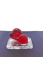 Heart Double on Base in Glass