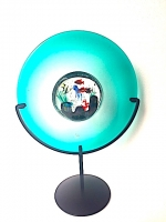 Plate Aquarium Turquoise in Glass on Stand