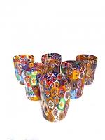 Set 6 Glasses with Murrina Mosaic and Gold Leaf