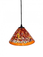 "Suspension Lamp Chinese Hat ""Klimt"" Amber in Glass with Murrine"