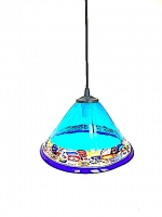 "Suspension Lamp Chinese Hat ""Cà D'oro"" Light Blue in Glass with Murrine"