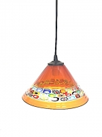 "Suspension Lamp Chinese Hat ""Cà D'oro"" Amber  in Glass with Murrine"
