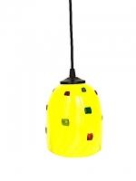 """Suspension Lamp  """"Gioco"""" Yellow in Multicolor Glass"""