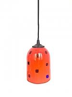 """Suspension Lamp """"Gioco"""" Red in Multicolor Glass"""