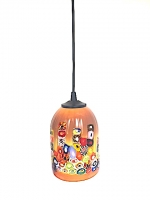 "Suspension Lamp ""Pasta Color"" Amber in Glass with Murrine"