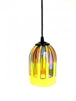 """Suspension Lamp """"Trasparenze"""" Yellow in Multicolor Glass"""