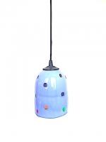 """Suspension Lamp """"Gioco"""" Gray Blue in Multicolor Glass"""
