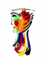 Vase Tall Face in Multicolor Glass