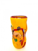 Vase Yellow in Glass with Murrine