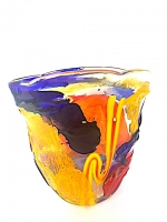 "Vase Oval Low in Glass ""Sbruffi"""