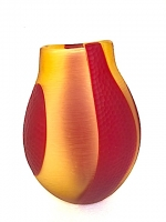 Vase Red/Amber in Glass inlaid